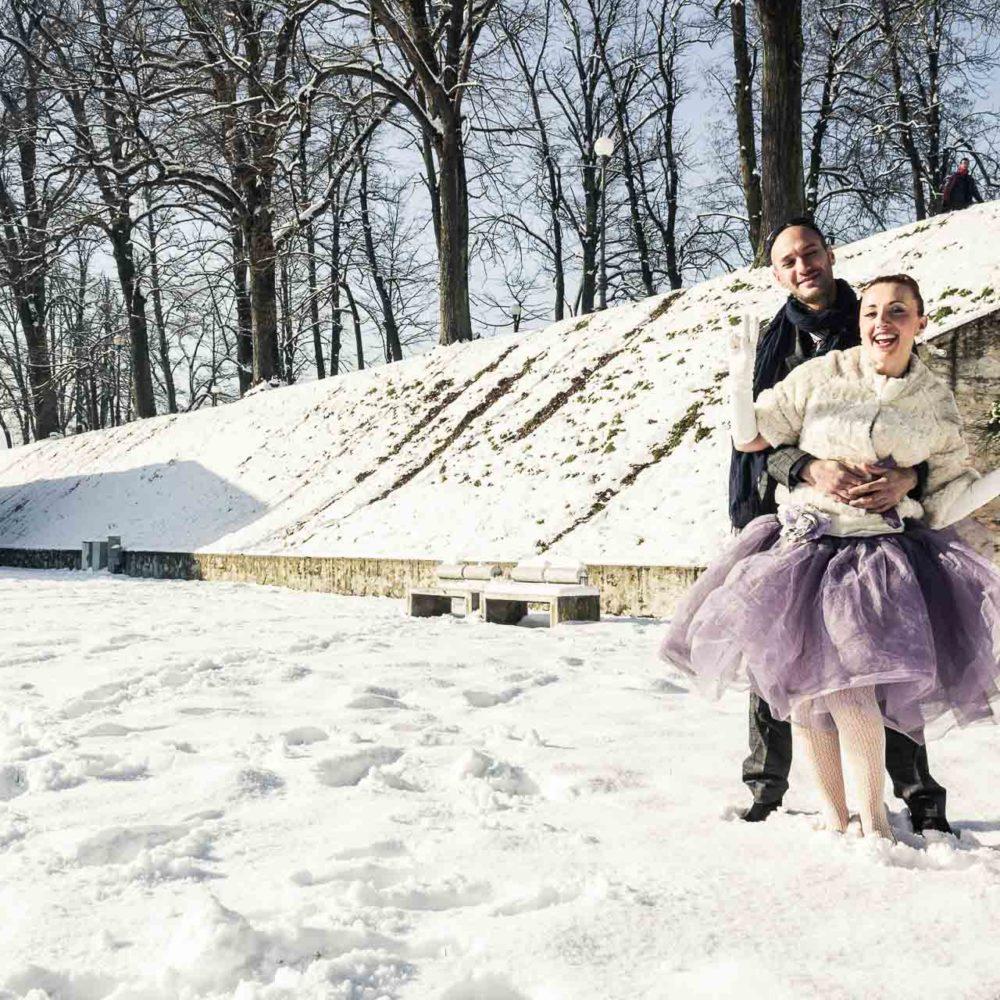 valentina esposito fotoreporter matrimonio inverno sposi sulla neve felici